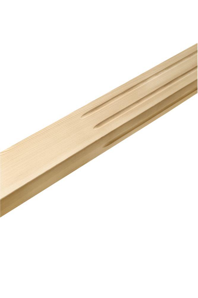 Demi-pilastre carré cannelé, pruche 1/2 x 3