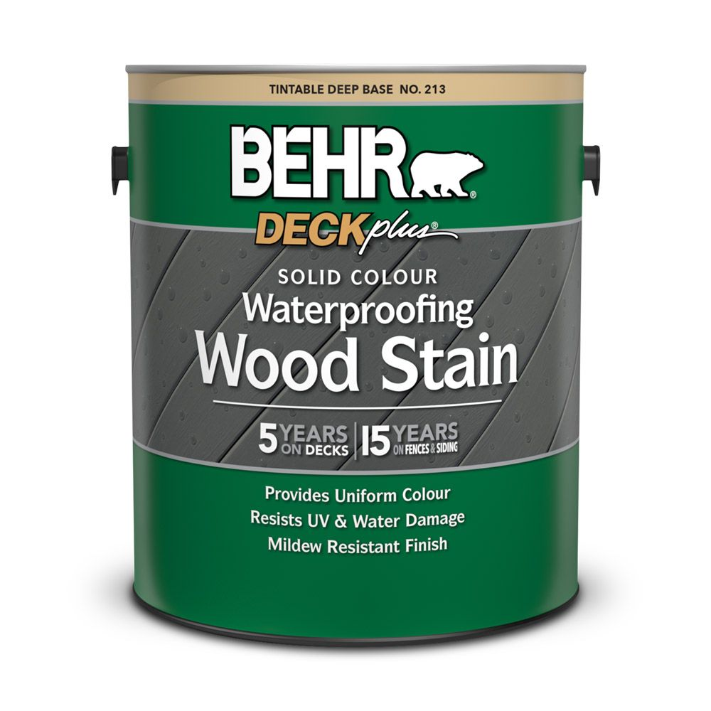 BEHR Solid Colour Waterproofing Wood Stain - Deep Base, No. 213,  3.43 L