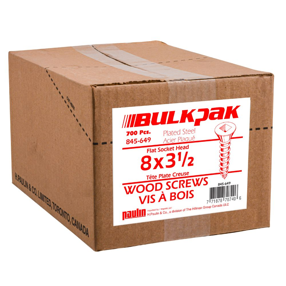8x31/2 F.H.Wood Screws 1/8 Keg