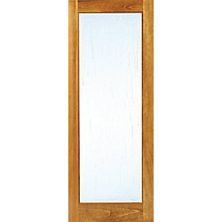 Milette 24x80 Modern 1 Lite door Architecturally cast Suzanne glass in Clear Pine