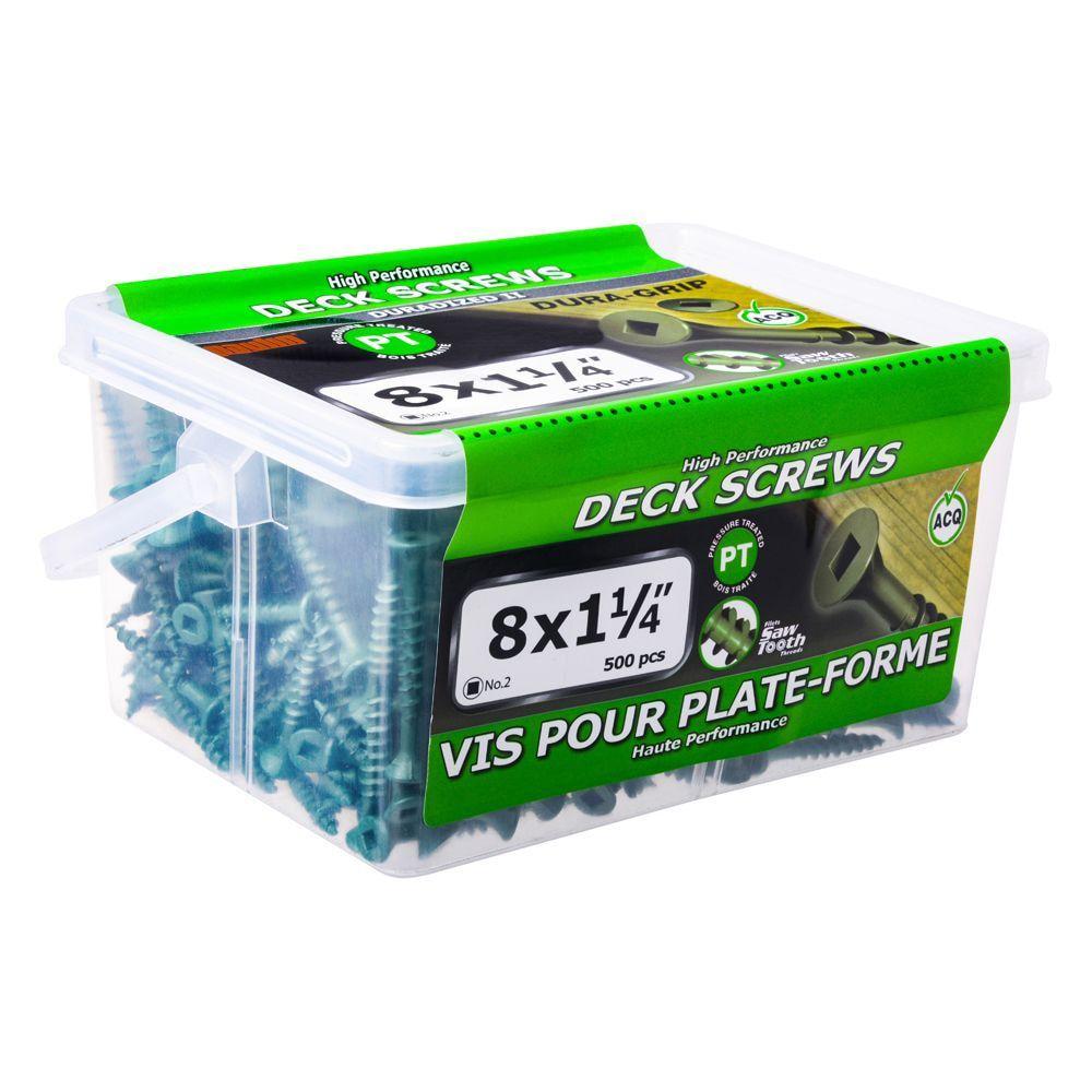 8x1 1/4 Green Deck Screws - 500 Pieces