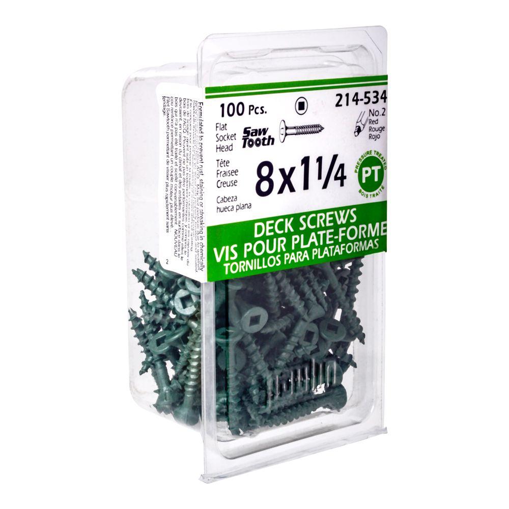 8x1-1/4 Green Deck Screws - 100 Pieces