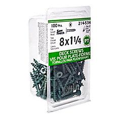 #8 x 1-1/4-inch Square Drive Flat Head Deck Screw UNC in Green - 100pcs