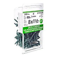 #8 x 1-1/2-inch Square Drive Flat Head Deck Screw UNC in Green - 100pcs
