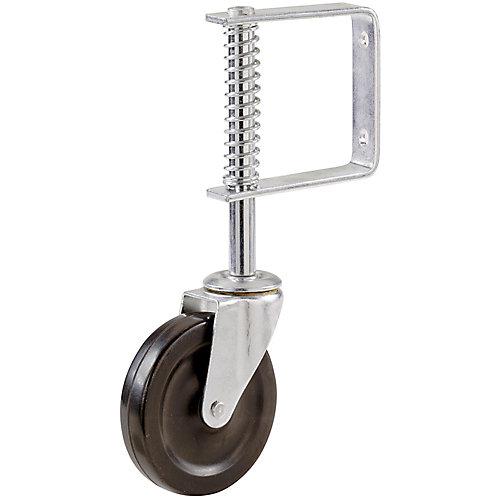 Roulette de barrière  de 102 mm avec support à ressort réglable et capacité de charge de 57 kg