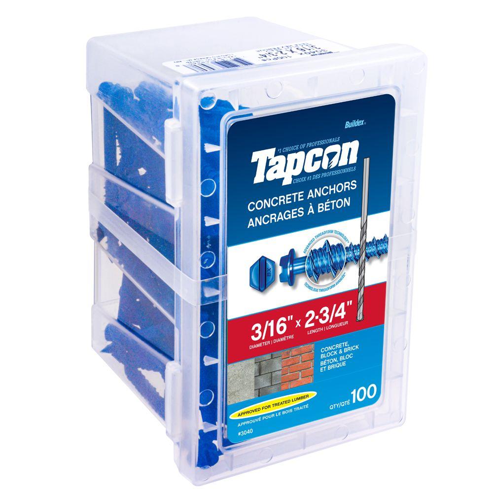Cheville pour béton 3/16 X 2 3/4 Hex Tapcon<sup>®</sup>
