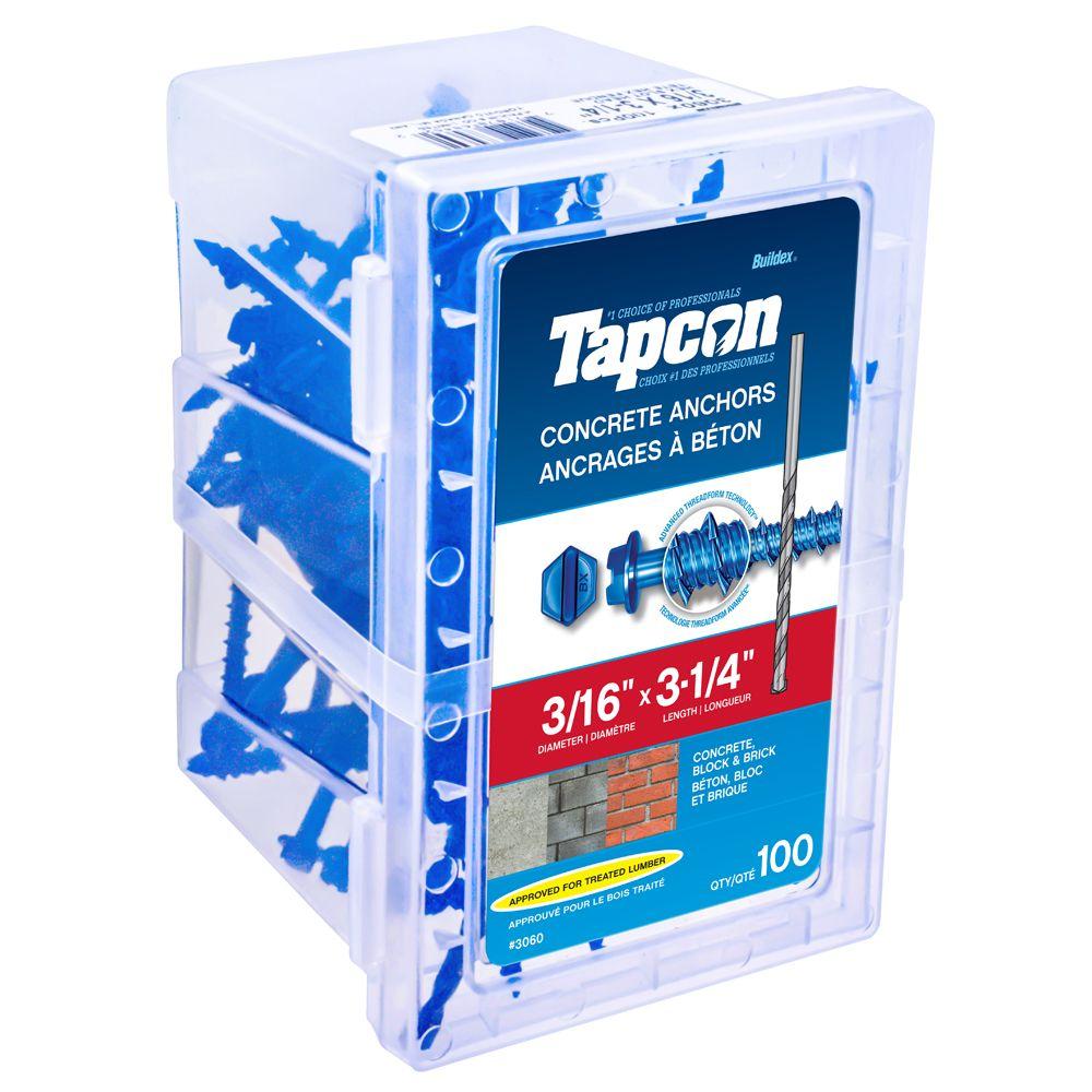 Cheville pour béton 3/16 X 3-1/4 Hex Tapcon<sup>®</sup>