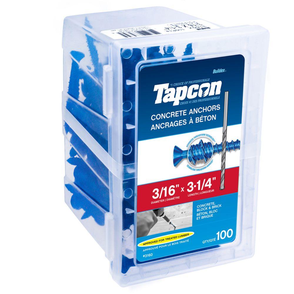 Cheville pour béton 3/16 X 3 1/4 tête plate Tapcon<sup>®</sup>