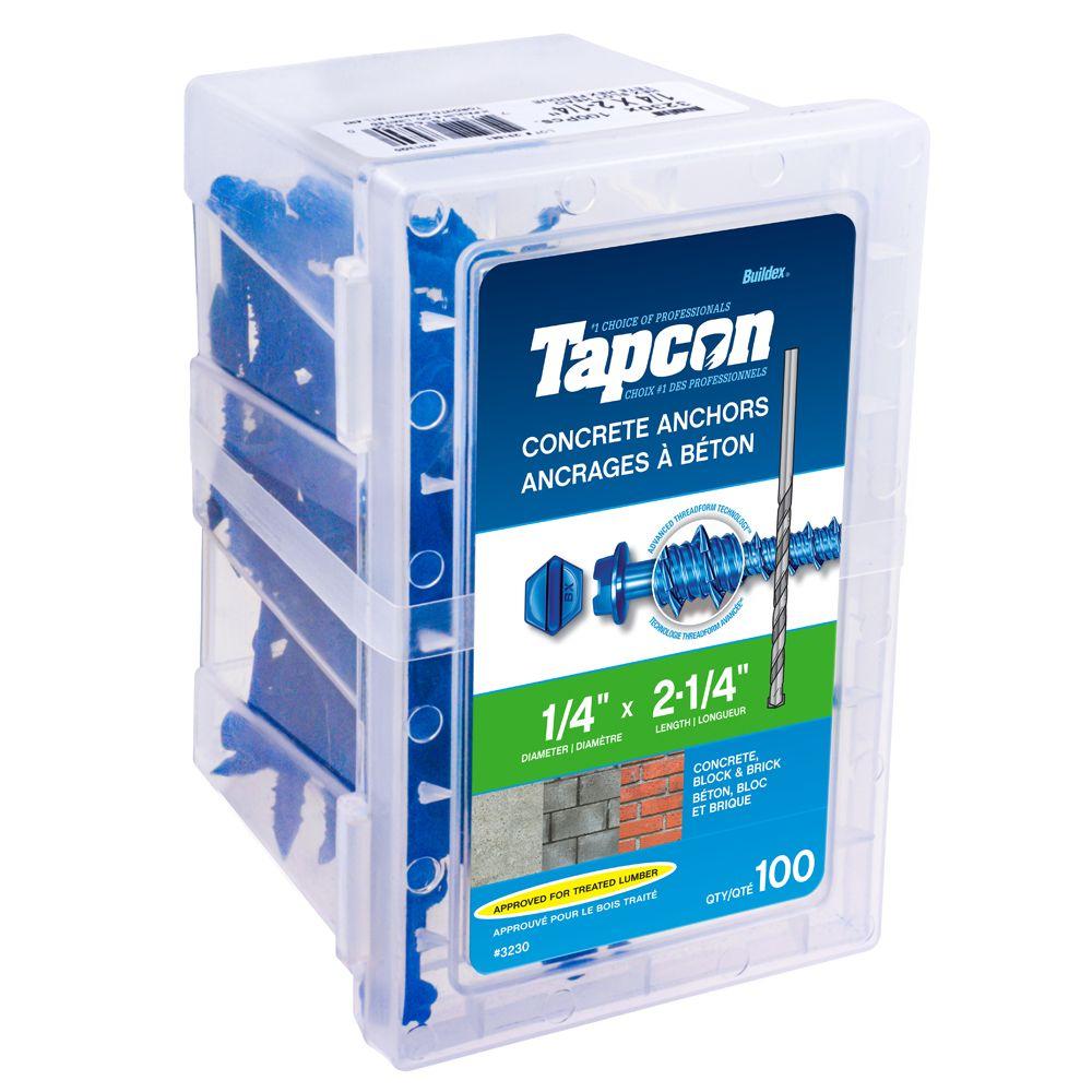 Cheville pour béton 1/4 X 2 1/4 Hex Tapcon<sup>®</sup>
