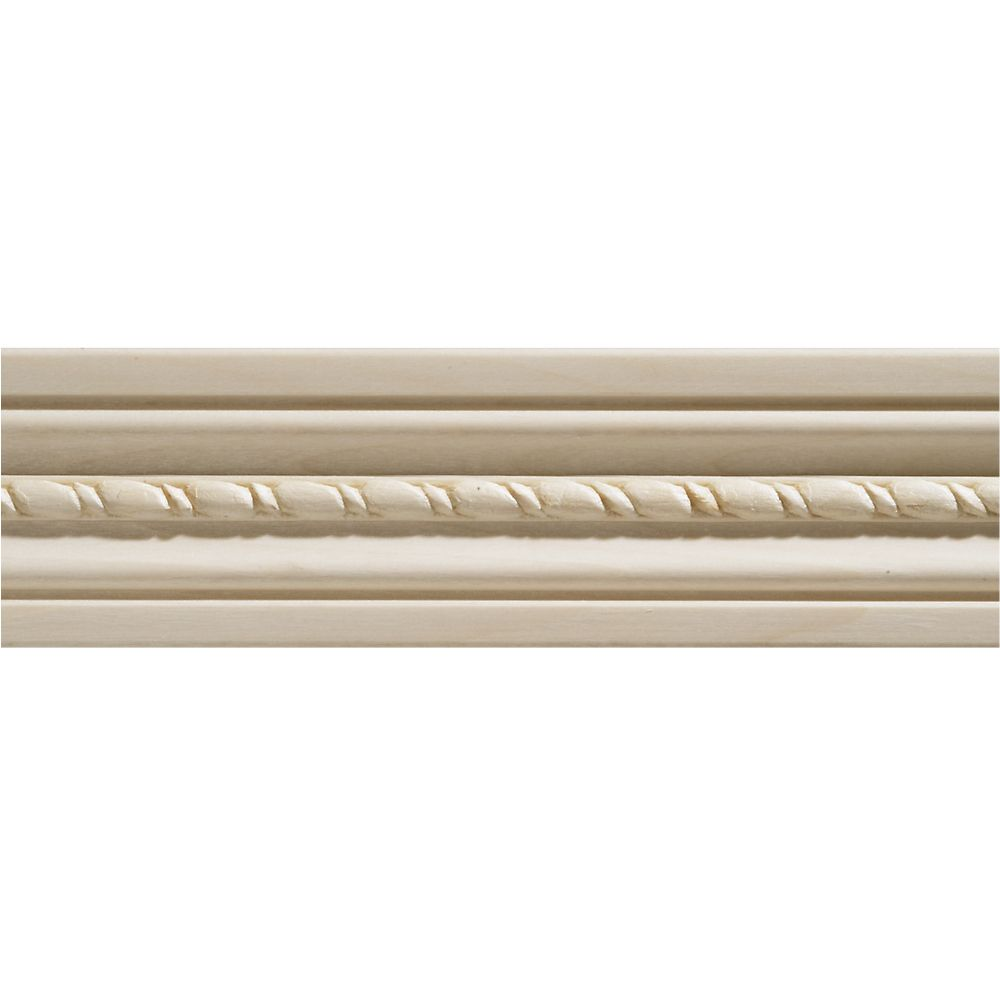 1/2-inch x 2 1/8-inch x 7 ft. White Hardwood Embossed Rope Casing Moulding