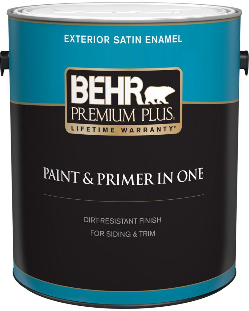 Behr Premium Plus Exterior Paint & Primer in One, Satin Enamel - Ultra Pure White, 3.7 L
