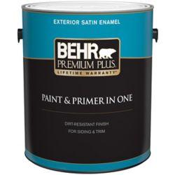 Behr Premium Plus Peinture & apprêt en un - Extérieur émail satiné - Blanc ultra pur, 3,7 L
