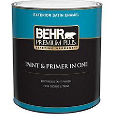Exterior Paint & Primer in One, Satin Enamel - Ultra Pure White, 946 mL