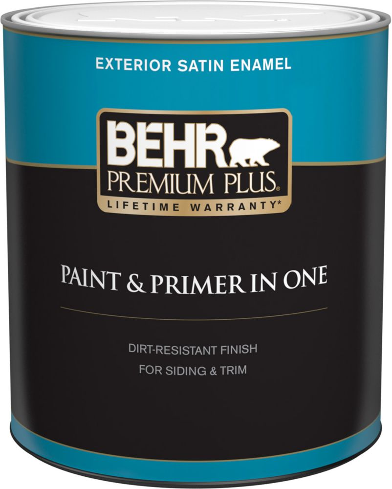Behr Premium Plus Exterior Paint & Primer in One, Satin Enamel - Ultra Pure White, 946 mL