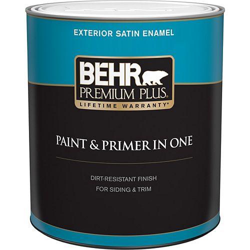 Behr Premium Plus Exterior Paint & Primer in One, Satin Enamel - Ultra Pure White, 946 mL