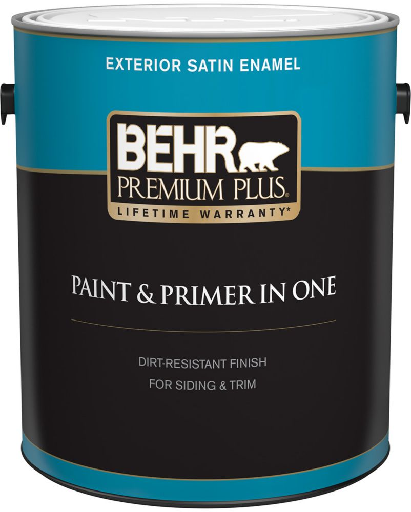 Behr Premium Plus Exterior Paint Primer In One Satin Enamel Deep Base 3 7 L The Home