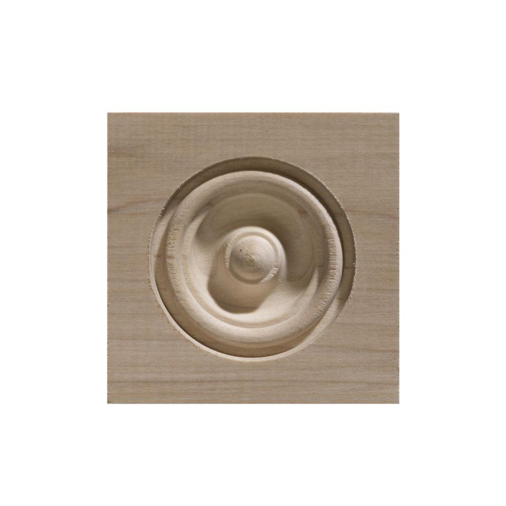 White Hardwood Bull'S Eye Corner Block - 3-1/4 x 3-1/4 Inches