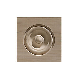 Ornamental Mouldings 3 1/4-inch x 3 1/4-inch White Hardwood Bull's Eye Corner Block Moulding