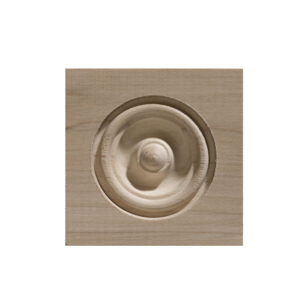 3 1/4-inch x 3 1/4-inch White Hardwood Bull's Eye Corner Block Moulding
