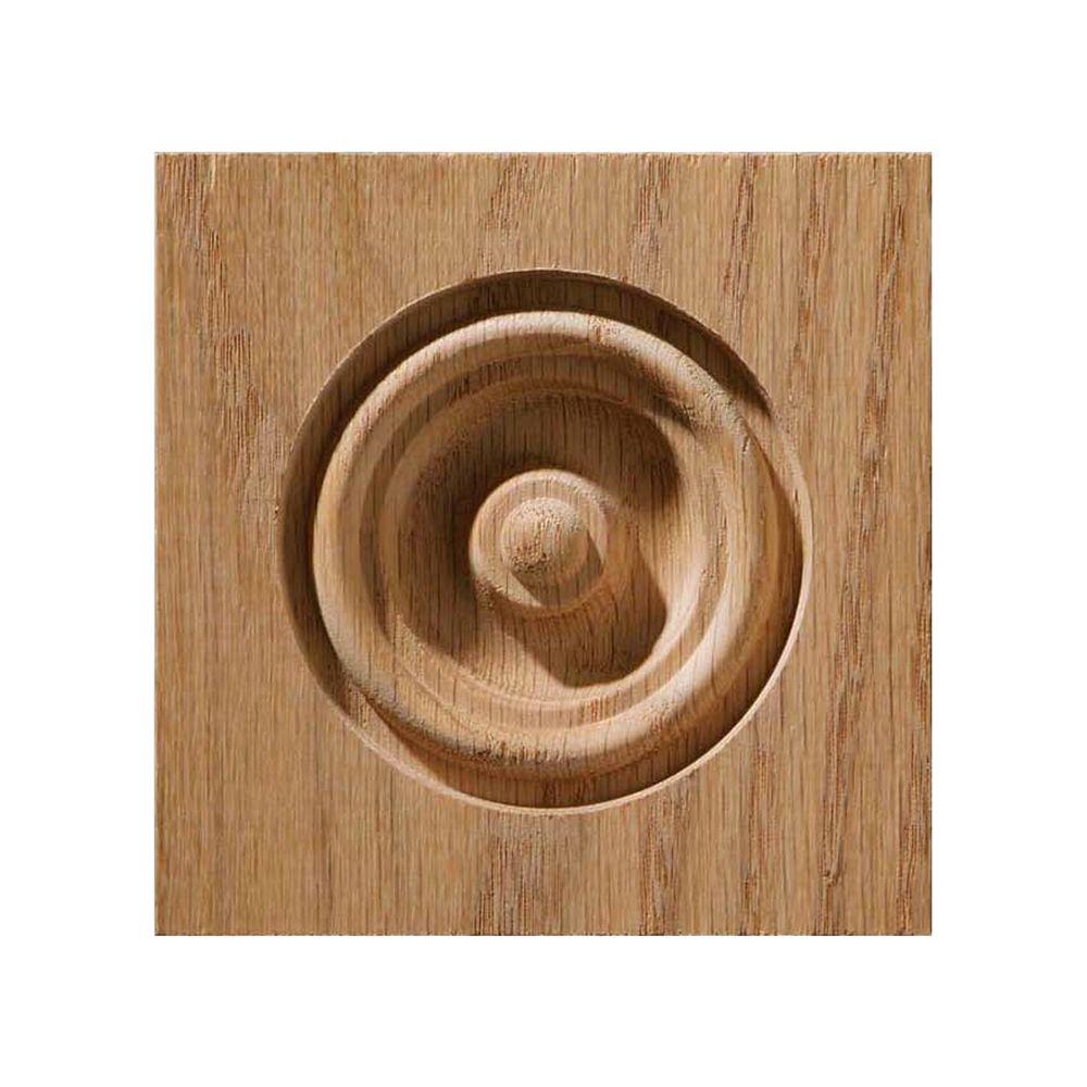 Oak Bullseye Corner Block 3-1/4 X 3-1/4  Inch.