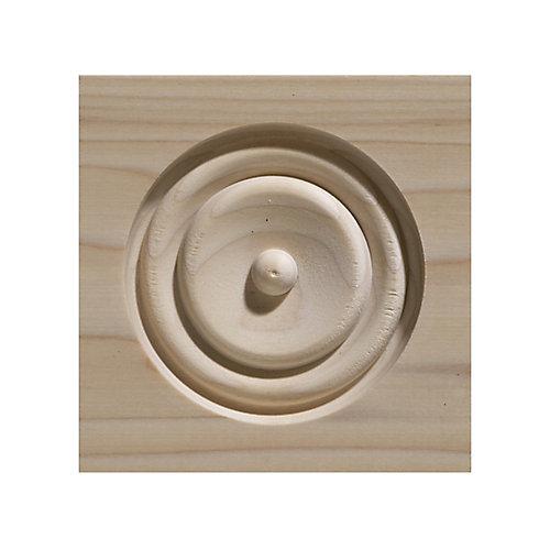 White Hardwood Bullseye Corner Block 4-1/2 X 4-1/2  Inch.
