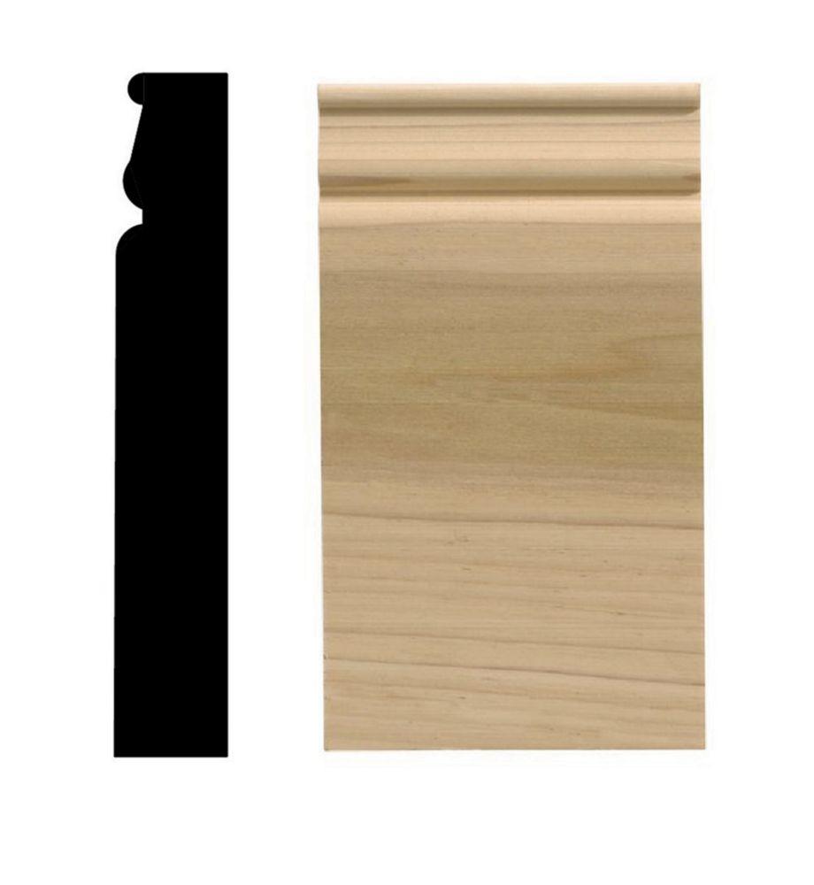 Socle colonial, 3 1/4 po x 6 1/2 po, bois franc blanc