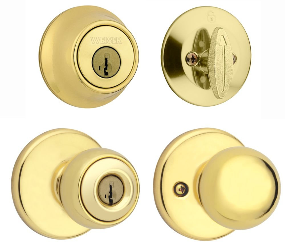 Yukon Bright Brass Exterior Locking Knob Single Cylinder Deadbolt