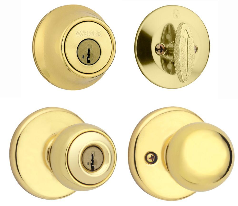 Yukon Bright Brass Exterior Locking Knob Single Cylinder Deadbolt