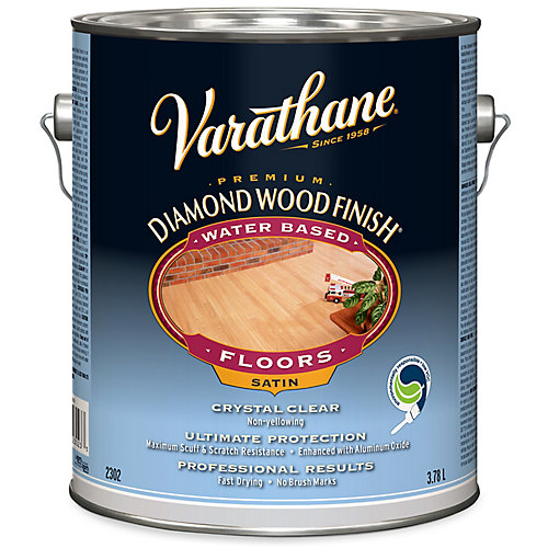 Premium Diamond Wood Finish For Floors, Water-Based In Satin Clear, 3.78 L