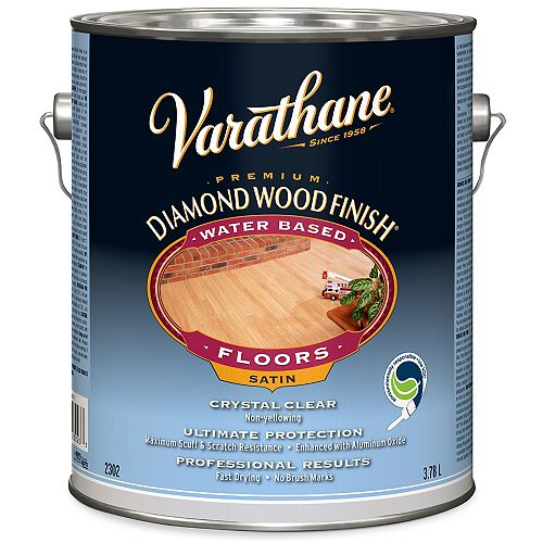 Varathane Premium Diamond Wood Finish For Floors, Water-Based In Satin Clear, 3.78 L