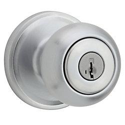 Troy Keyed Entry Knob in Satin Chrome