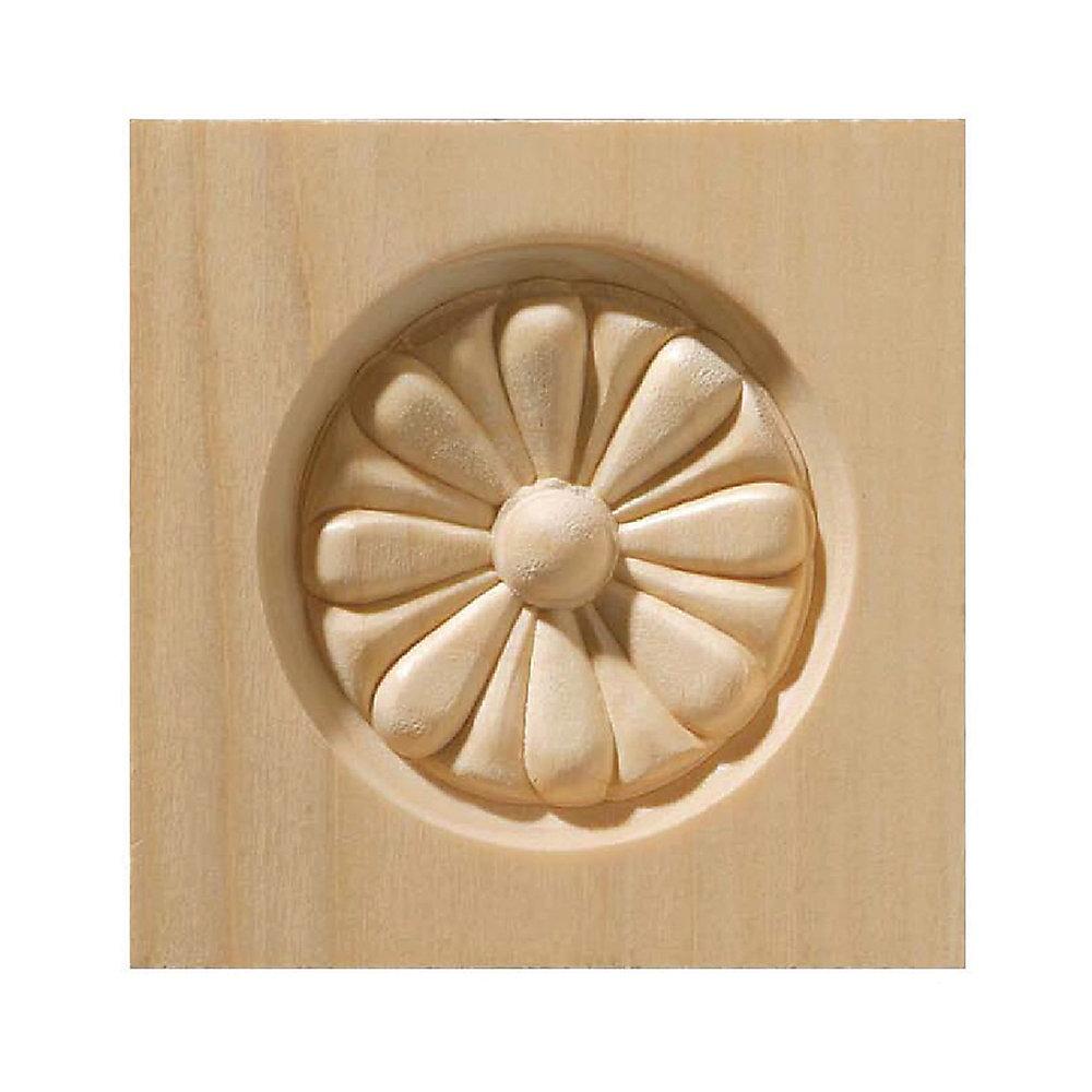 White Hardwood Rosette Corner Block 3-1/2 X 3-1/2  Inch.