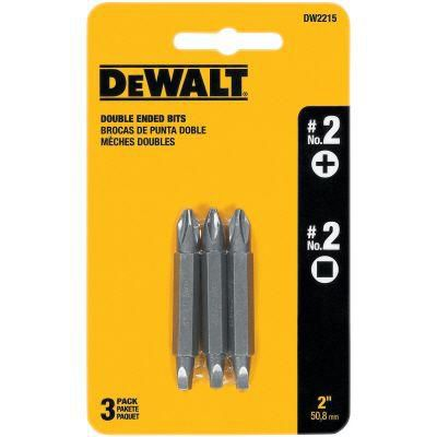 DEWALT #2 Double Ended Phillips / Square Bits (3-Pack)