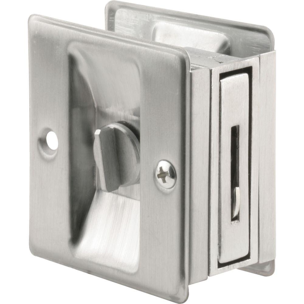 Satin Chrome Pocket Door Privacy Latch Set
