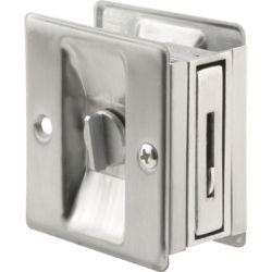 Prime-Line Satin Chrome Pocket Door Privacy Latch Set