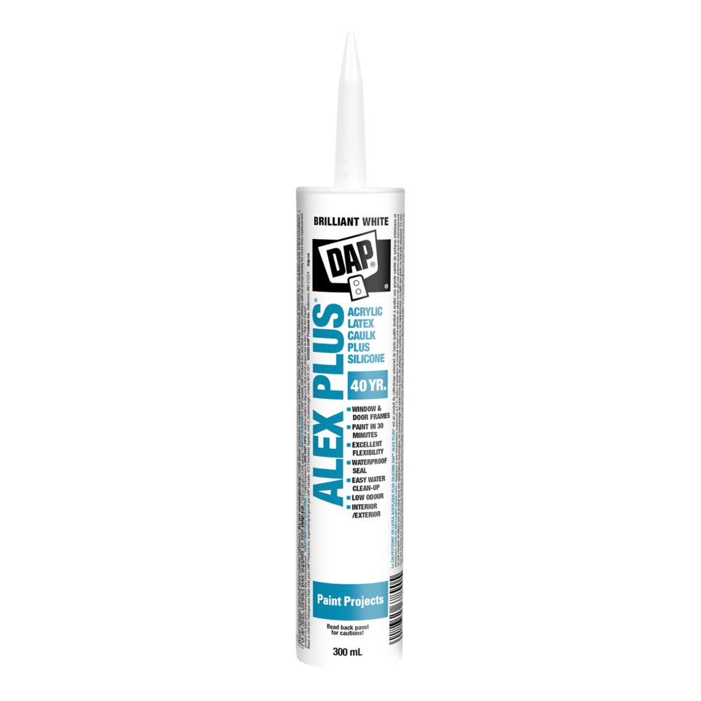 Calfeutrant de qualité au latex acrylique Alex Plus avec silicone - 35 ans - 300 ml, blanc.