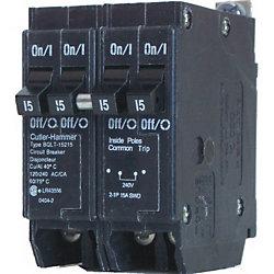 Eaton Cutler-Hammer Disjoncteur de replacement boulonné duplex/quad - 2-1P 15A & 1-2P 40A