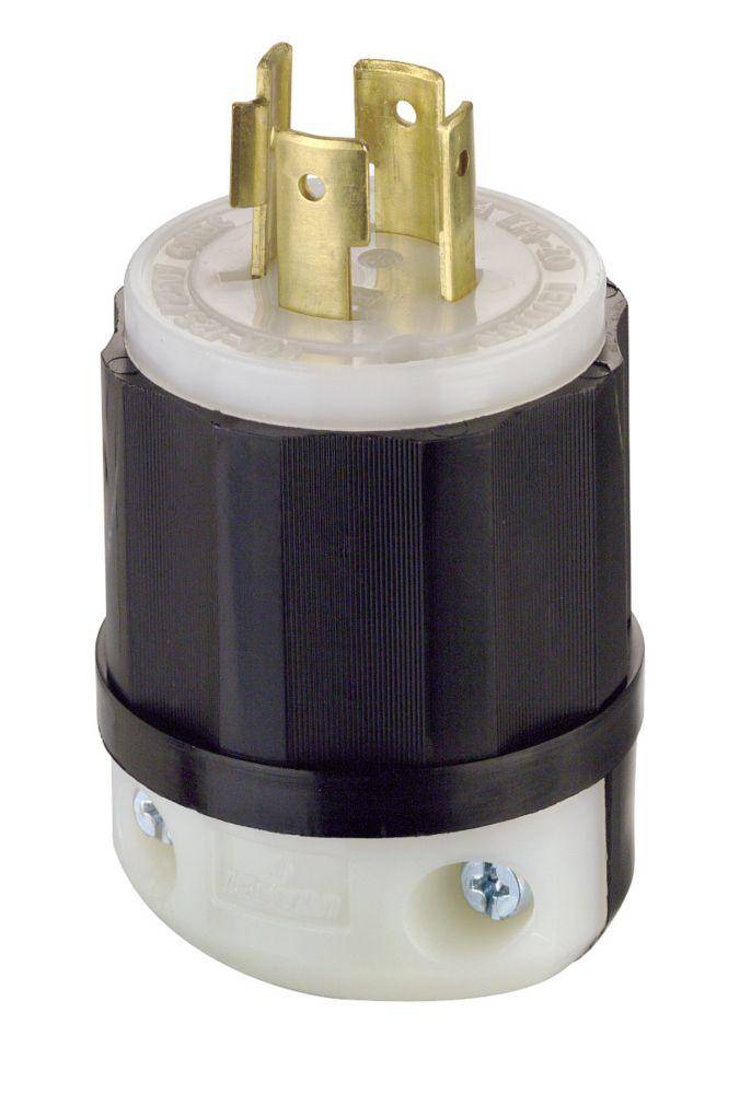Fiche Verrouillable, Tripolaire, Quadrifilaire, 20 A, 125/250 V, Noir/Blanc