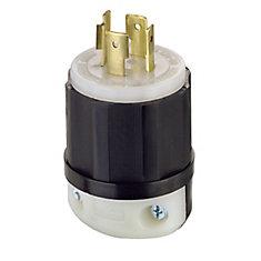 20 Amp Lock Plug 125/250V, Black And White