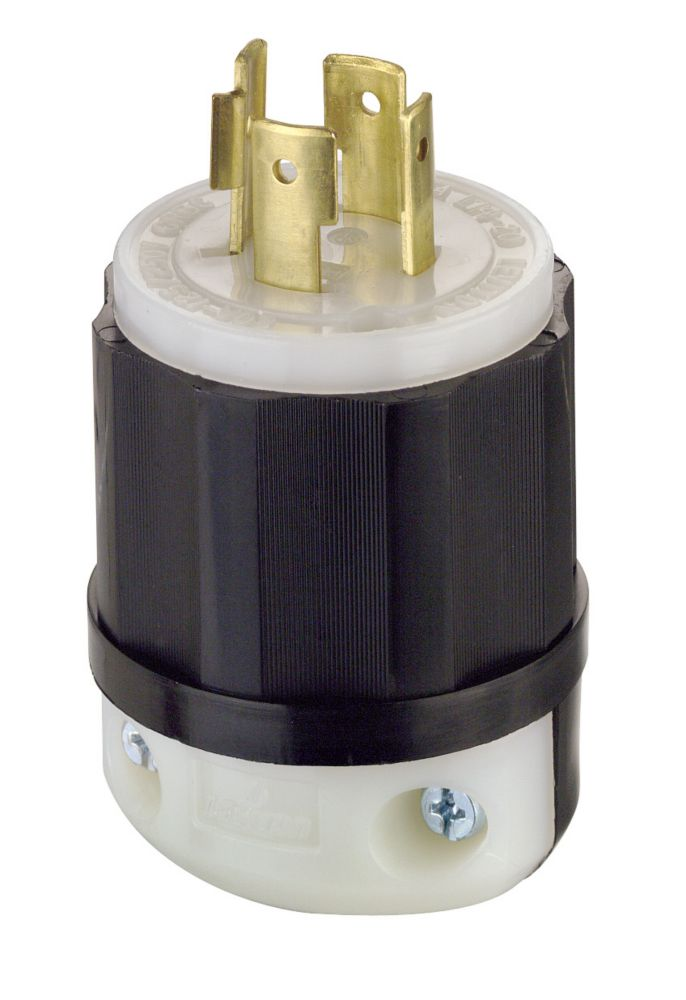 Leviton Fiche Verrouillable, Tripolaire, Quadrifilaire, 20 A, 125/250 V, Noir/Blanc