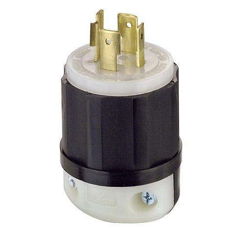 Leviton 20 Amp Lock Plug 125/250V, Black And White