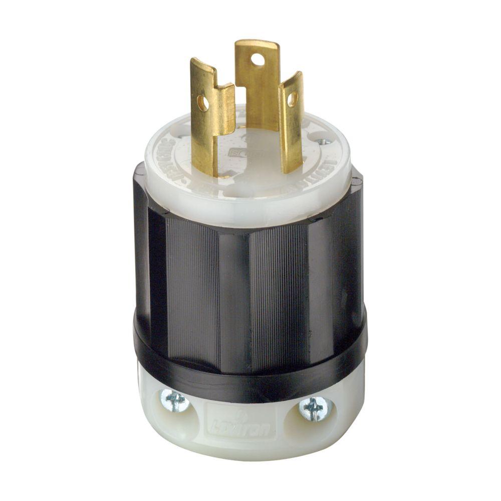 30 Amp Locking Plug 125V, Black And White