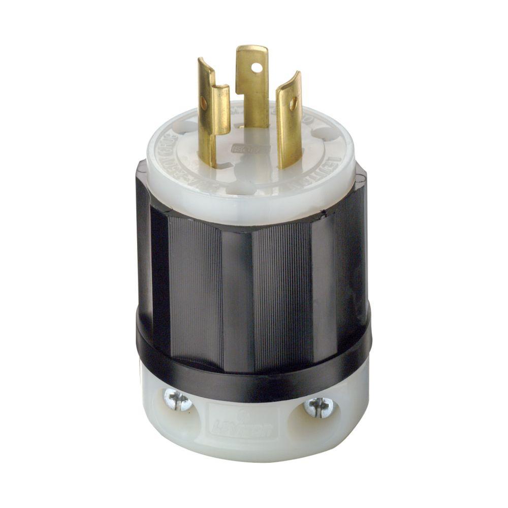 Leviton 20 Amp Locking Plug 250V, Black And White