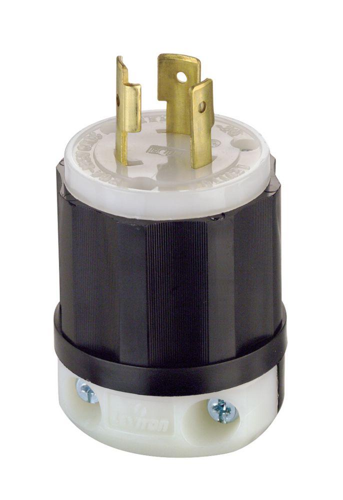 Leviton 20 Amp Locking Plug 125 Volt, Black And White