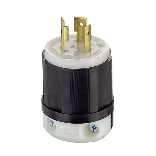 Leviton 20 Amp Locking Plug 125 Volt, Black And White