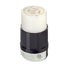 20 Amp Locking Connector 125/250 Volt, Black And White