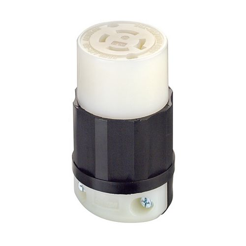 Leviton 20 Amp Locking Connector 125/250 Volt, Black And White