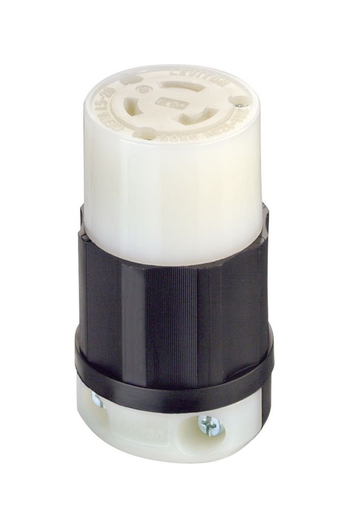Leviton 20 Amp Locking Connector 125 Volt, Black And White