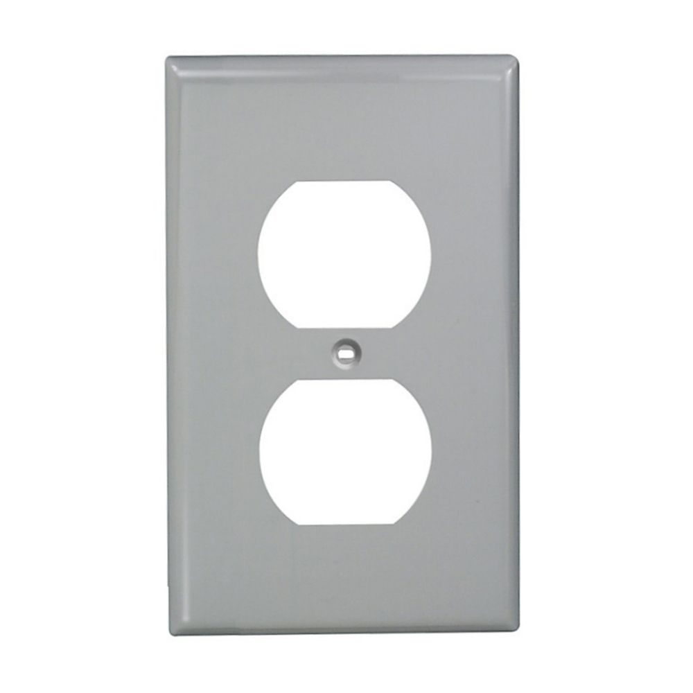 1-Gang Nylon Duplex Receptacle Plate Gray