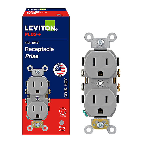 Commercial Duplex Receptacle 15 Amp 125v, Gray